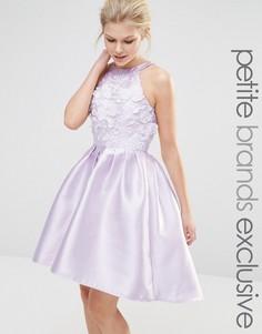 Платье мини для выпускного с аппликацией Chi Chi London Petite - Фиолетовый
