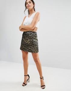Жаккардовая юбка металлик с леопардовым принтом Helene Berman - Золотой