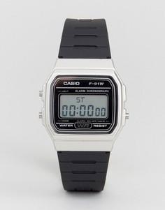 Цифровые часы с черным силиконовым ремешком Casio F91WM-7A - Черный