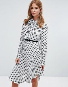 Платье-рубашка миди с завязкой на бант Millie Mackintosh - Белый