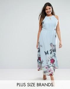 00a504e9a60 Платье макси с цветочным принтом Uttam Boutique Plus - Синий с высокой  талией