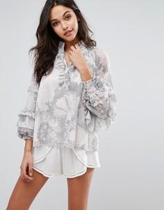 Блузка с оборками на рукавах Stevie May Soft Love - Мульти