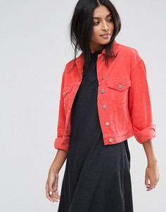 Укороченная вельветовая куртка кораллового цвета ASOS - Розовый