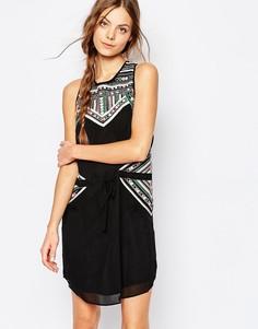Платье с вышивкой Greylin Josefina - Черный
