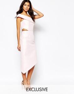 Платье миди на одно плечо с вырезами Fame And Partners Jazmina - Розовый