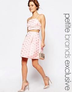 Пышная фактурная юбка миди для выпускного в горошек True Decadence Petite - Розовый