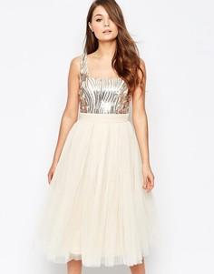 Платье для выпускного с отделкой Little Mistress - Золотой