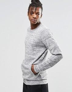 Трикотажный джемпер с круглым вырезом и карманом спереди ADPT Dante - Серый