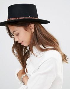 Фетровая шляпа с контрастной кожаной отделкой Brixton Matador - Черный