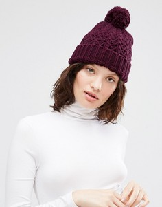 Ажурная шапка крупной вязки с помпоном Johnstons - Фиолетовый