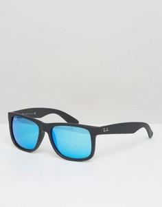 Вайфареры с синими зеркальными стеклами Ray-Ban 0RB4165 - Черный