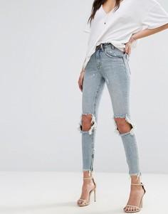 Укороченные джинсы с завышенной талией и необработанным нижним краем One Teaspoon Freebird - Синий