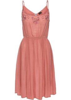 Платье с вышивками (дымчато-розовый) Bonprix