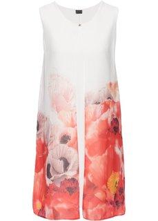 Платье с цветочным принтом и шифоном (белый с розовым/красный/коралловым рисунком) Bonprix