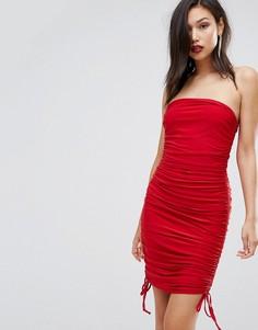 Облегающее платье-бандо со сборками Club L - Красный