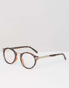 Круглые очки в винтажном стиле с черепаховой оправой и прозрачными стеклами ASOS - Коричневый
