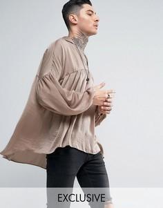 Атласная рубашка-туника классического кроя Reclaimed Vintage - Светло-серый
