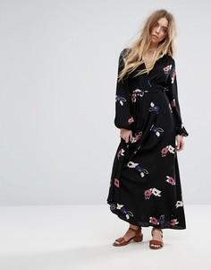 Платье макси с цветочным принтом Rollas - Черный