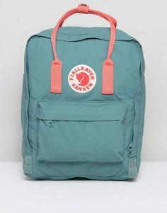Классический зеленый рюкзак с контрастной розовой отделкой Fjallraven Kanken - Зеленый