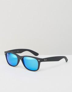Вайфареры с синими зеркальными стеклами Ray-Ban 0RB2132 - Черный