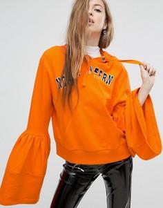 Худи с принтом и оборками на рукавах ASOS - Оранжевый