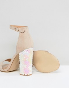 Босоножки с пайетками на блочном каблуке Truffle - Бежевый