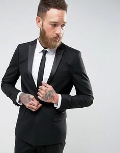 Черный пиджак-смокинг скинни с атласными лацканами ASOS - Черный