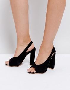 Босоножки на блочном каблуке с открытой пяткой и носком Missguided - Черный