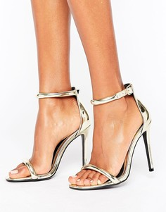 Босоножки на каблуке с ремешком вокруг щиколотки Missguided Barely There - Золотой