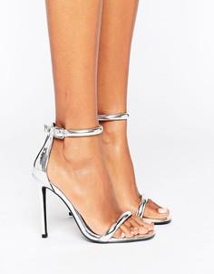 Босоножки на каблуке с ремешком вокруг щиколотки Missguided Barely There - Серебряный