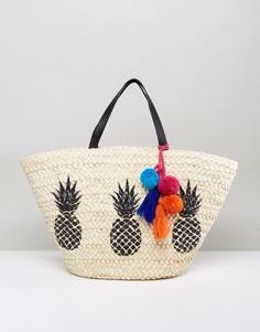 Пляжная сумка с ананасом Missguided - Бежевый