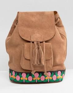 Замшевый рюкзак с вышивкой Park Lane - Рыжий