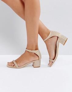Бежевые босоножки на каблуке с заклепками RAID Tiffany - Бежевый