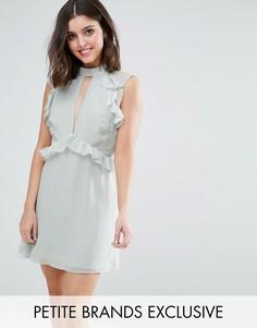 Короткое приталенное платье с оборками на плечах True Decadence Petite - Зеленый