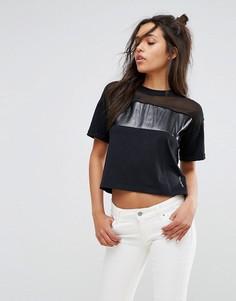 Топ с прозрачной отделкой и логотипом Calvin Klein Jeans - Черный