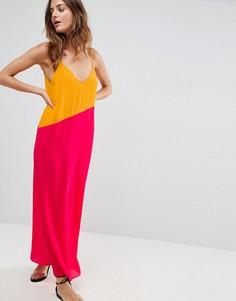 Пляжное асимметричное платье макси в стиле колор блок ASOS - Мульти