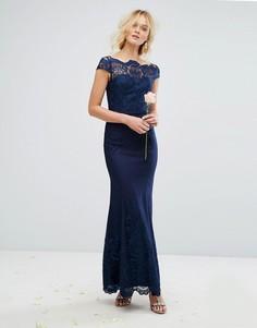 Кружевное платье макси с юбкой-годе Chi Chi London Premium - Темно-синий