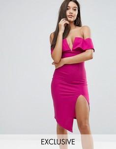Платье миди с открытыми плечами, глубоким вырезом и разрезом Ginger Fizz - Розовый