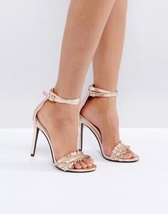 Босоножки цвета розового золота с рюшами на каблуке Public Desire Pheonix - Золотой