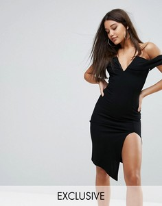 Платье миди с открытыми плечами, глубоким вырезом и разрезом Ginger Fizz - Черный
