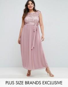 Платье макси с кружевным топом и юбкой из тюля Little Mistress Plus - Розовый