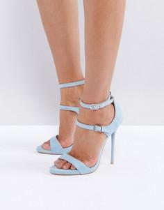 Синие босоножки на каблуке с ремешками Public Desire - Синий