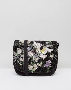 Декорированная сумка-седло с цветами и птицами Boohoo - Черный