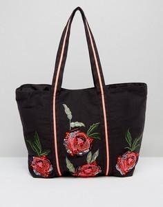 Сумка с цветочной вышивкой Boohoo - Черный
