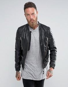 Кожаный байкерский бомбер AllSaints - Черный