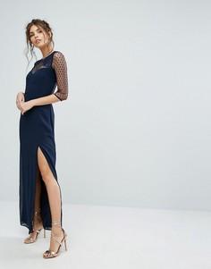 Платье макси с отделкой из сетки в горошек и кружева Elise Ryan - Темно-синий