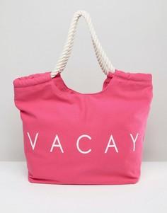 Розовая пляжная сумка с принтом Vacay South Beach - Розовый