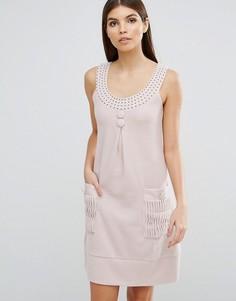 Платье А-силуэта с отделкой стразами Jasmine - Кремовый