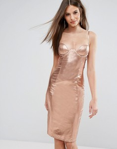 Блестящее платье миди с декольте и высоким воротом Rare London - Золотой