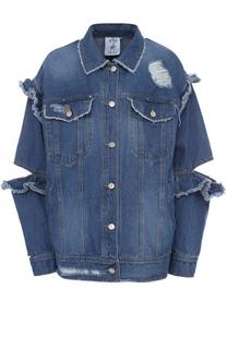 Джинсовая куртка с потертостями и оборками Steve J & Yoni P